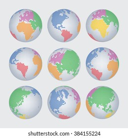 World map and continent halftone dot vector set