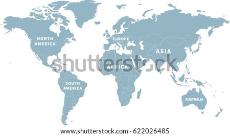 World Map Continent Labels Stock Vector Royalty Free 622026485