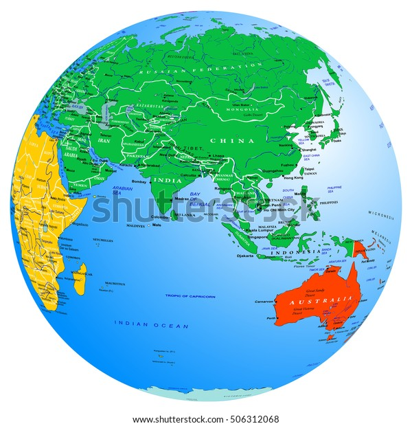 World Map Continents Countries Globe Planet Stock ...