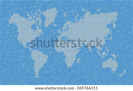 World Map With Continents Seas And Oceans Vector Abstract Of Dots