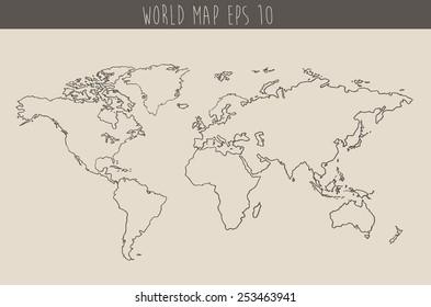 World map contour vector illustration, hand drawn, sketch