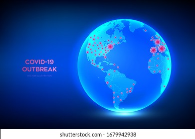 World map of Coronavirus 2019-nCov confirmed cases. Planet Earth globe with icon of coronavirus COVID-19 infected countries. COVID 19 outbreak and world pandemic risk concept. Vector illustration.