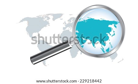 World Map Countries Asia Magnified By Stock Vector (Royalty Free ...