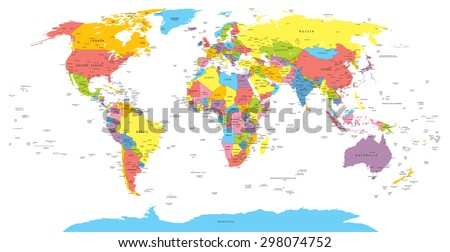 World Map Countries Country City Names Stock Vector Royalty Free