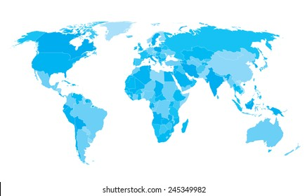 World map countries Cyan