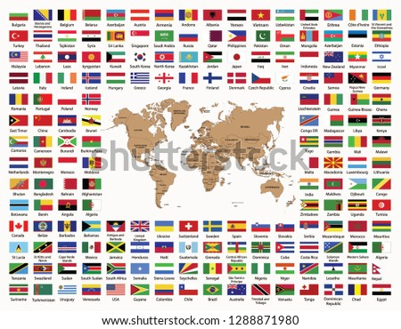 World Map World Countries Flags Names Stock Vector Royalty Free