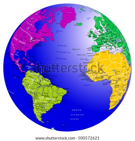 World Map Countries Globe Planet Earth Stock Vector Royalty Free