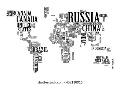 World Map with Countries name Text or Typography