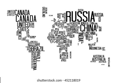 World map countries name text typography vector de stock703608394 world map with countries name text or typography gumiabroncs Image collections