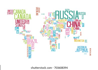 World map with country names images stock photos vectors world map with countries name text or typography with colorful color separate by country gumiabroncs Image collections