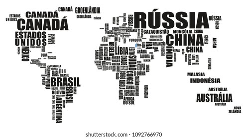 World Map with Countries Names Cloud Text or Typography Vector