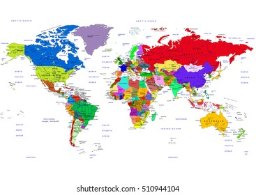 World map countries vector illustration names vector de world map countries vector illustration the names of countries and cities are on separate gumiabroncs Images