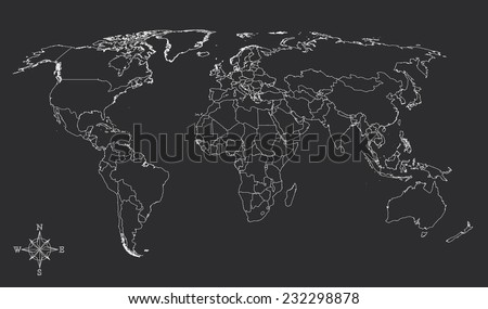 Black And White World Map With Countries.World Map Countries White Outline Gray Stock Vector Royalty Free