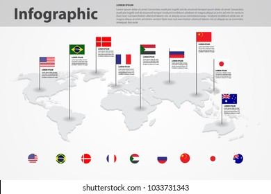 world map country flag marking, world map background