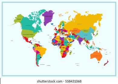 World map with country names images stock photos vectors world map with country name gumiabroncs Choice Image