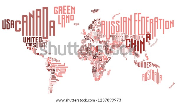 World Map Country Names Design Vector Stock Image | Download Now