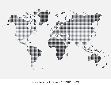 World map created from dots. Vector illustration