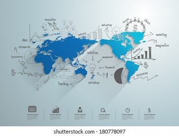 World map with creative drawing chart and graphs business success strategy plan idea, Business world concept modern design template workflow layout, diagram, step up options, Vector illustration