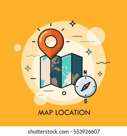 World map, destination point pin and compass. GPS navigation and location search concept, touristic service and travel mobile application logo. Vector illustration in thin line style for website, ad.