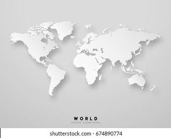 World map detailed design in white color vector illustration. 3D paper.