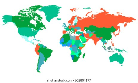 World Map Detailed in Red, Green and Blue Isolated on White Background. Vector Illustration