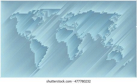 World Map Diagonal Lines