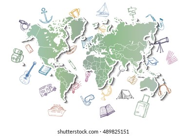 World map with different doodles about travel, education and science. Hand drawn vector.