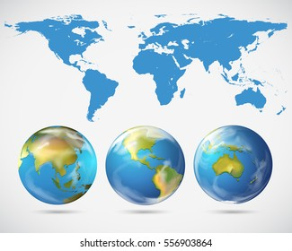 World map and different parts of the world illustration
