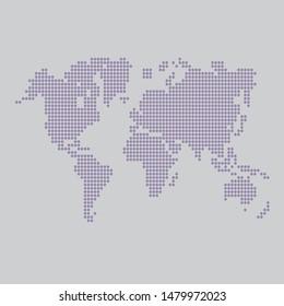World map in digital dots