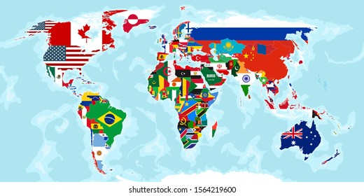 world map divided by countries and flags