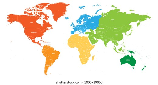 World map divided into six continents. Each continent in different color. Simple flat vector illustration.