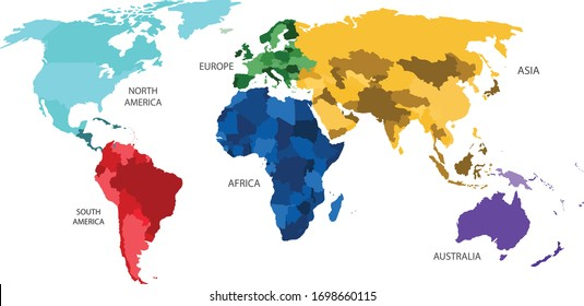 World map divided into six continents in different color. World map 6 continents isolated on white background. Vector stock