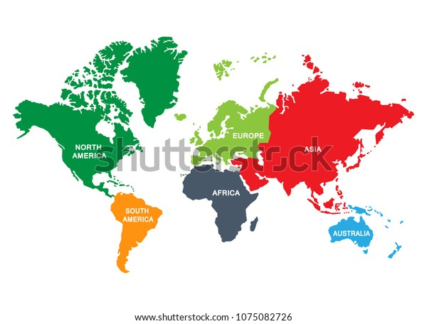 World Map Divided Into Six Continents Stock Vector (Royalty ... on world map with all continents, world map unlabeled, earth divided into continents, atlas divided into continents, world map of continents identified, names of continents, world map outline continents, simple map of continents,