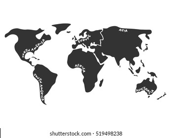 Asia and oceania images stock photos vectors shutterstock world map divided to six continents in dark grey north america south america gumiabroncs Choice Image