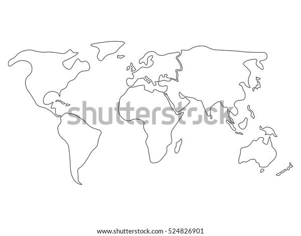 Image Vectorielle De Stock De Carte Du Monde En Six