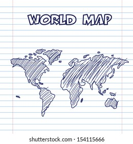 world map doodle pen ink, hand drawn style