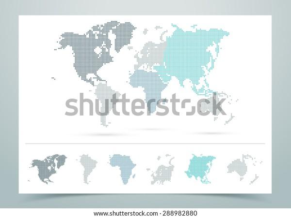Weltkarte gepunkteter Vektorgrafik mit Kontinenten