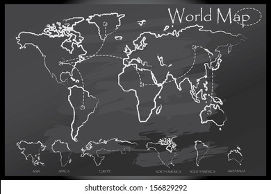 World map draw on blackboard