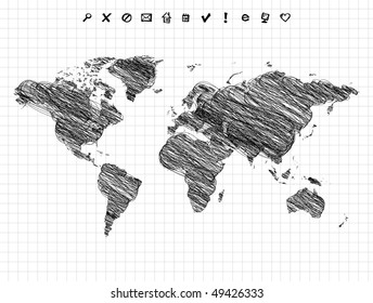 World map drawing, pencil sketch