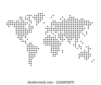 World map drawn with dots, can be used in infographics, simple monochrome black color vector illustration isolated on white background