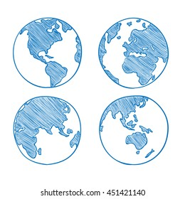 Globe drawing images stock photos vectors shutterstock world map drawn set vector illustration gumiabroncs Images