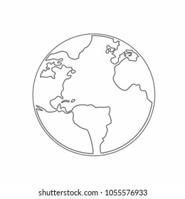 World Map Earth Globe Vector line Sketched Up Illustrator. design graphic isolated over white