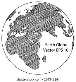 World Map Earth Globe Vector line Sketched Up Illustrator, EPS 10.
