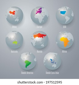 World map with earth globes.