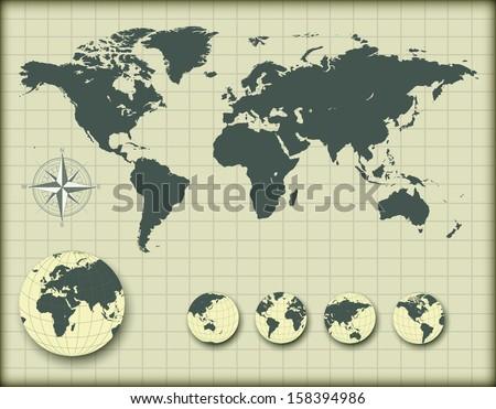 world map earth globes editable vector stock vector royalty free