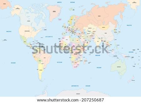 Language Map Of World.World Map English Language Stock Vector Royalty Free 207250687