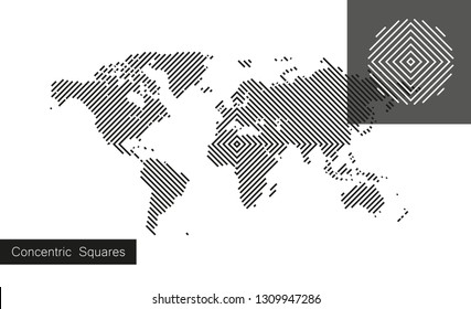 World map in engraved style. Vector isolated on white background. Flat Earth gray similar template for web site pattern, cover, anual report, inphographics. Globe worldmap icon.
