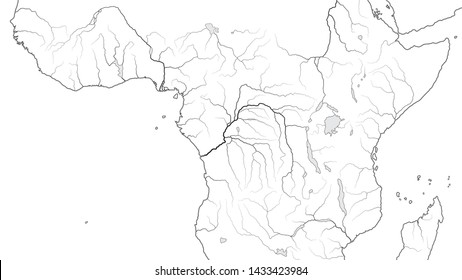 World Map of EQUATORIAL AFRICA REGION:  Central Africa, Congo, Zaïre, Nigeria, Kenya, Tanzania, Kilimanjaro, Lake Tanganyika, Lake Malawi, Sudan, Somalia. Geographic chart with coastline and rivers.