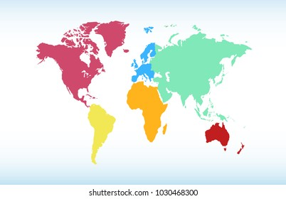 World map. Europe Asia America Africa Australia