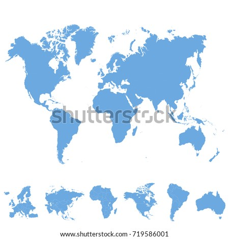 World Map Europe Asia America Africa Stock Vector Royalty Free